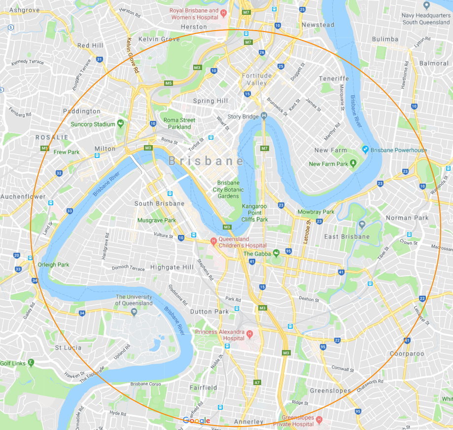 Electrical Embassy's service map of Brisbane CBD and inner suburbs.